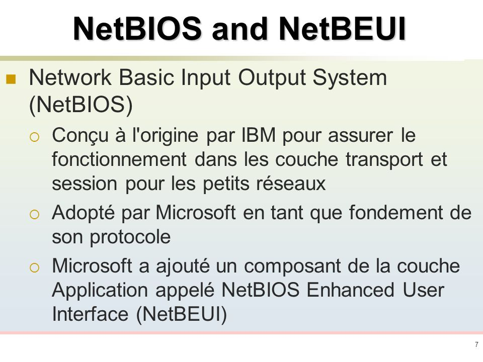 NetBIOS and NetBEUI Network Basic Input Output System (NetBIOS)
