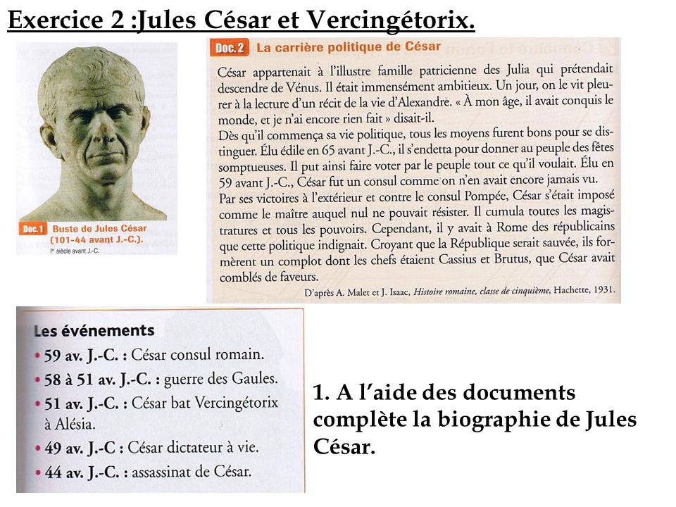 Exercice 2 :Jules César et Vercingétorix.