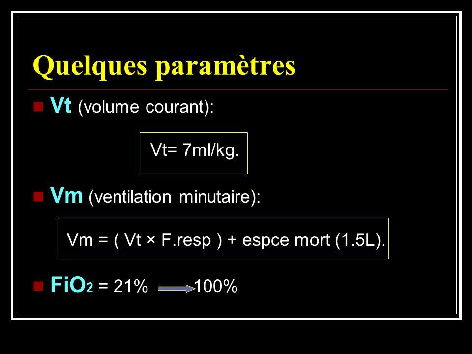 Quelques paramètres Vt (volume courant): Vm (ventilation minutaire):