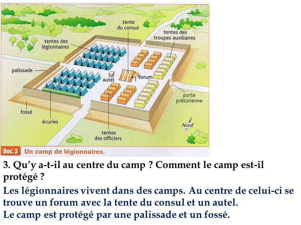3. Qu'y a-t-il au centre du camp Comment le camp est-il protégé