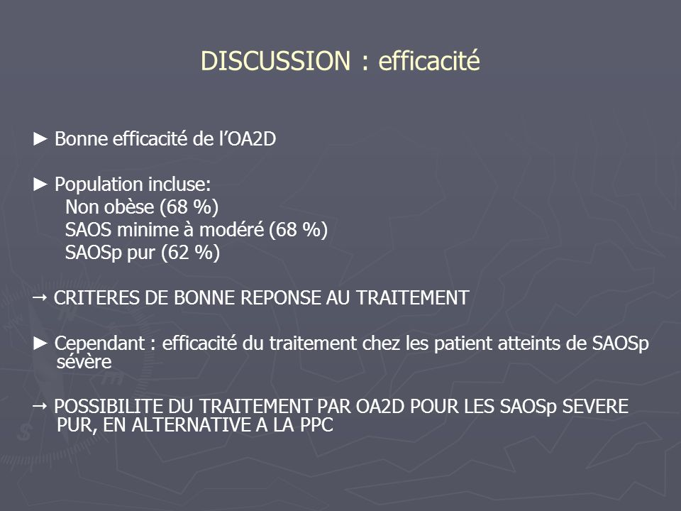 DISCUSSION : efficacité