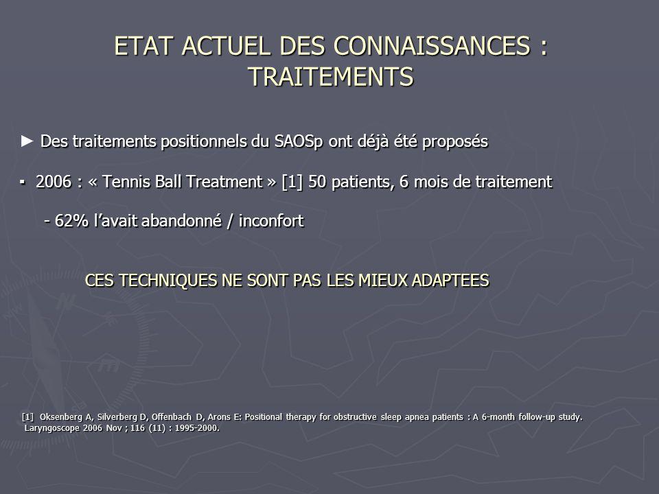 ETAT ACTUEL DES CONNAISSANCES : TRAITEMENTS