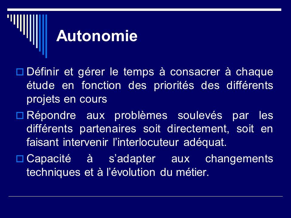 Autonomie Définir et gérer le temps à consacrer à chaque étude en fonction des priorités des différents projets en cours.