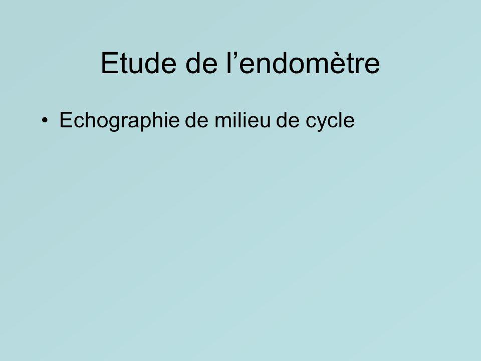 Etude de l'endomètre Echographie de milieu de cycle