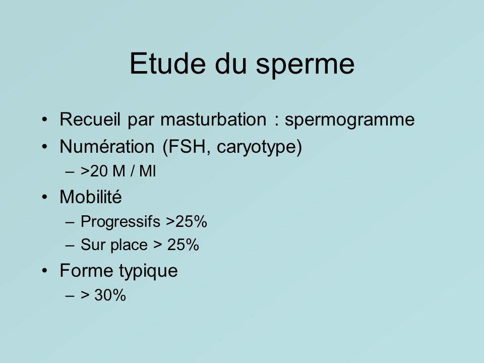 Etude du sperme Recueil par masturbation : spermogramme