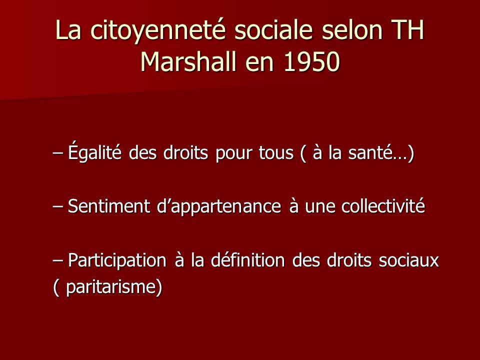 La citoyenneté sociale selon TH Marshall en 1950