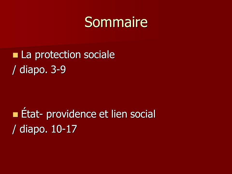 Sommaire La protection sociale / diapo. 3-9