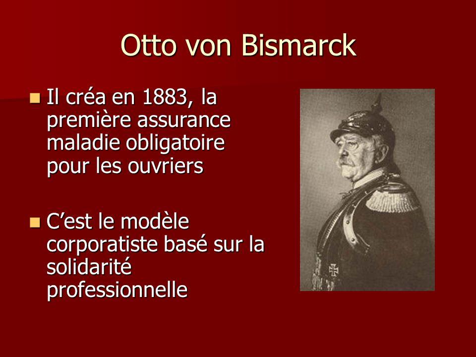Otto von Bismarck Il créa en 1883, la première assurance maladie obligatoire pour les ouvriers.