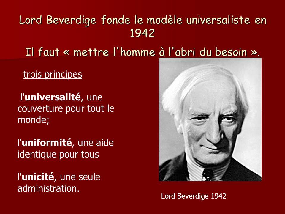 Lord Beverdige fonde le modèle universaliste en 1942 Il faut « mettre l homme à l abri du besoin ».