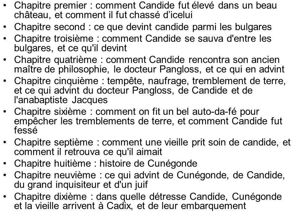 Chapitre premier : comment Candide fut élevé dans un beau château, et comment il fut chassé d'icelui