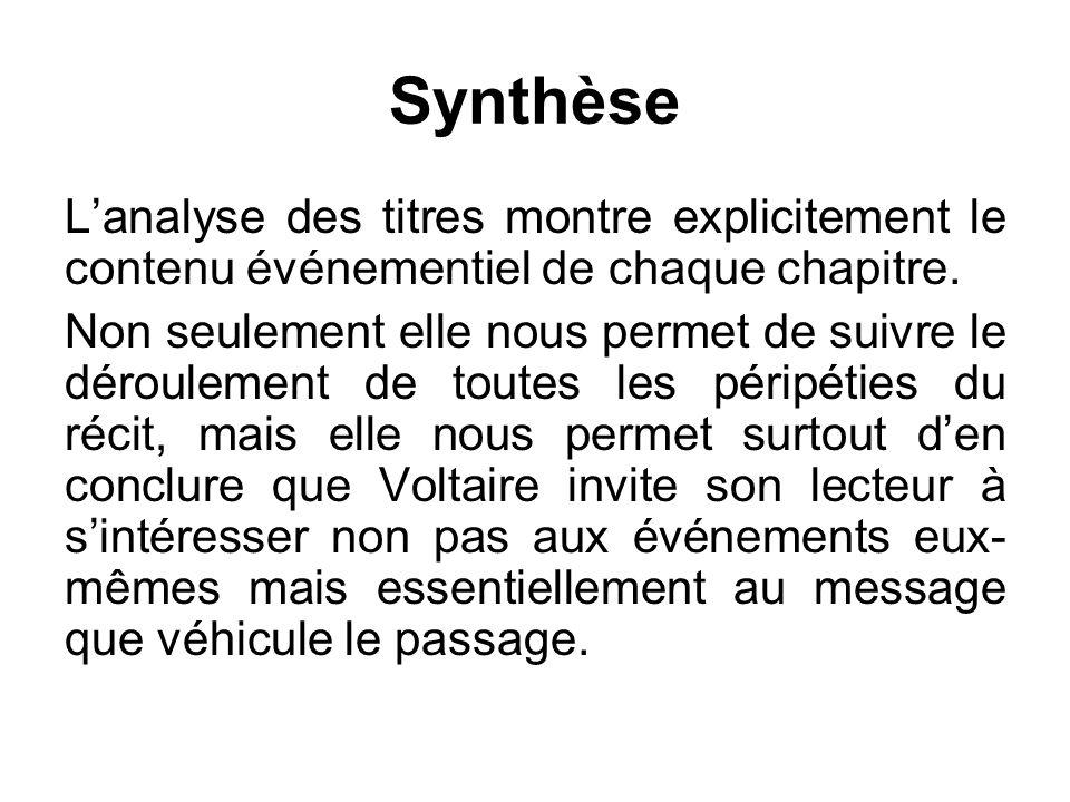 Synthèse L'analyse des titres montre explicitement le contenu événementiel de chaque chapitre.