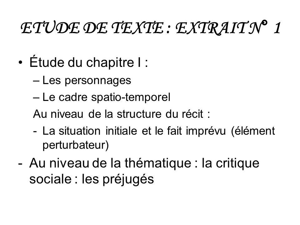 ETUDE DE TEXTE : EXTRAIT N° 1