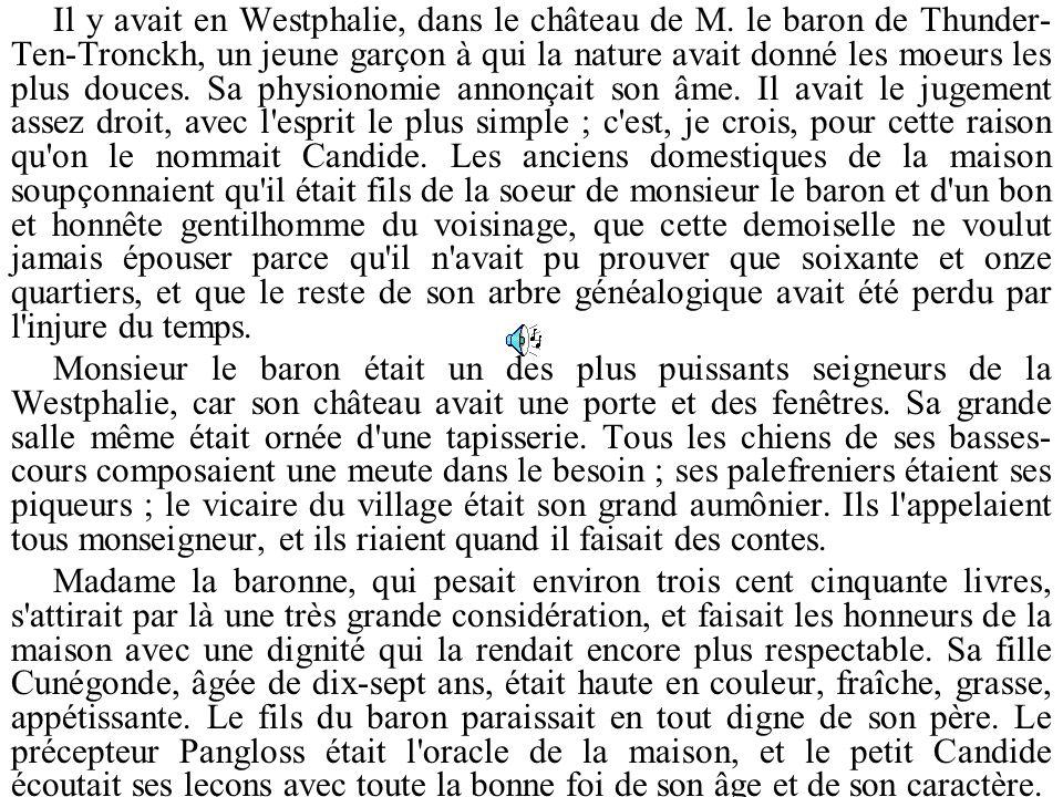 Il y avait en Westphalie, dans le château de M