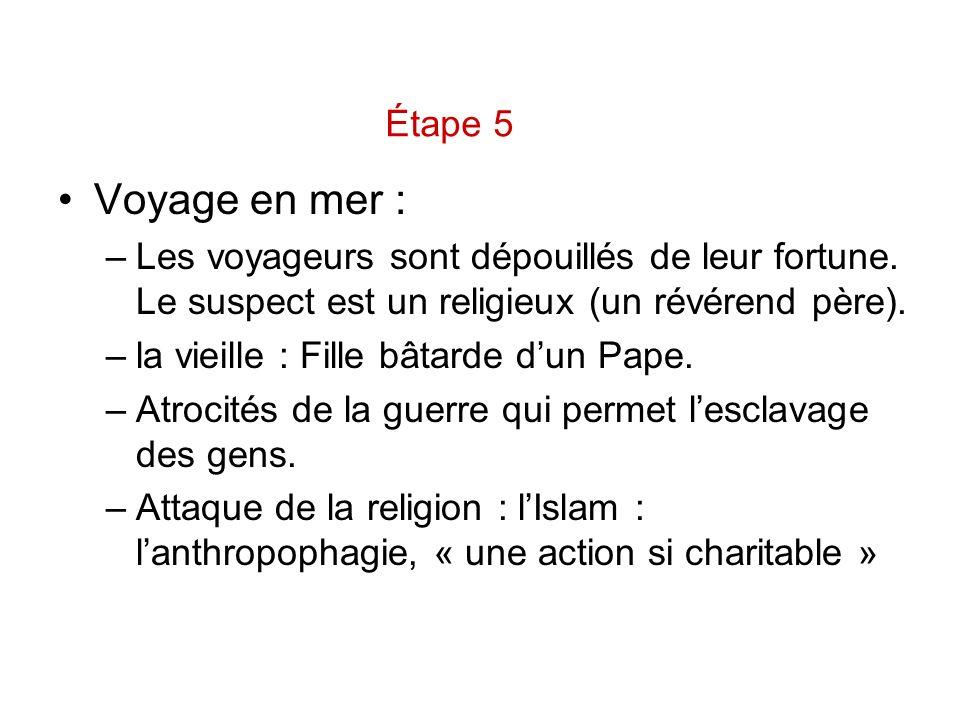 Étape 5 Voyage en mer : Les voyageurs sont dépouillés de leur fortune. Le suspect est un religieux (un révérend père).