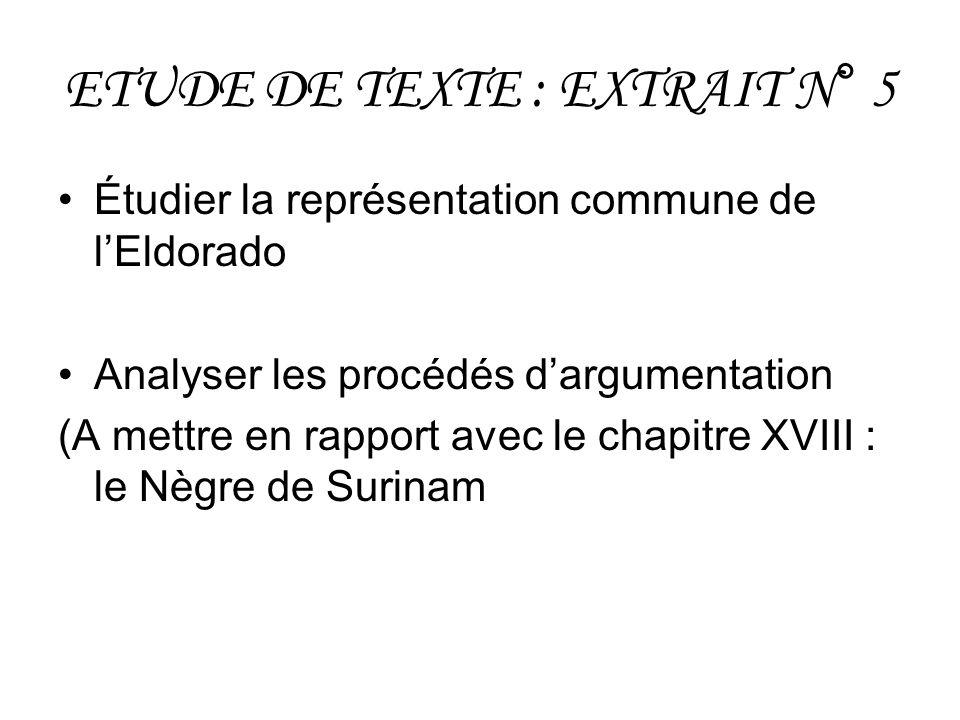 ETUDE DE TEXTE : EXTRAIT N° 5