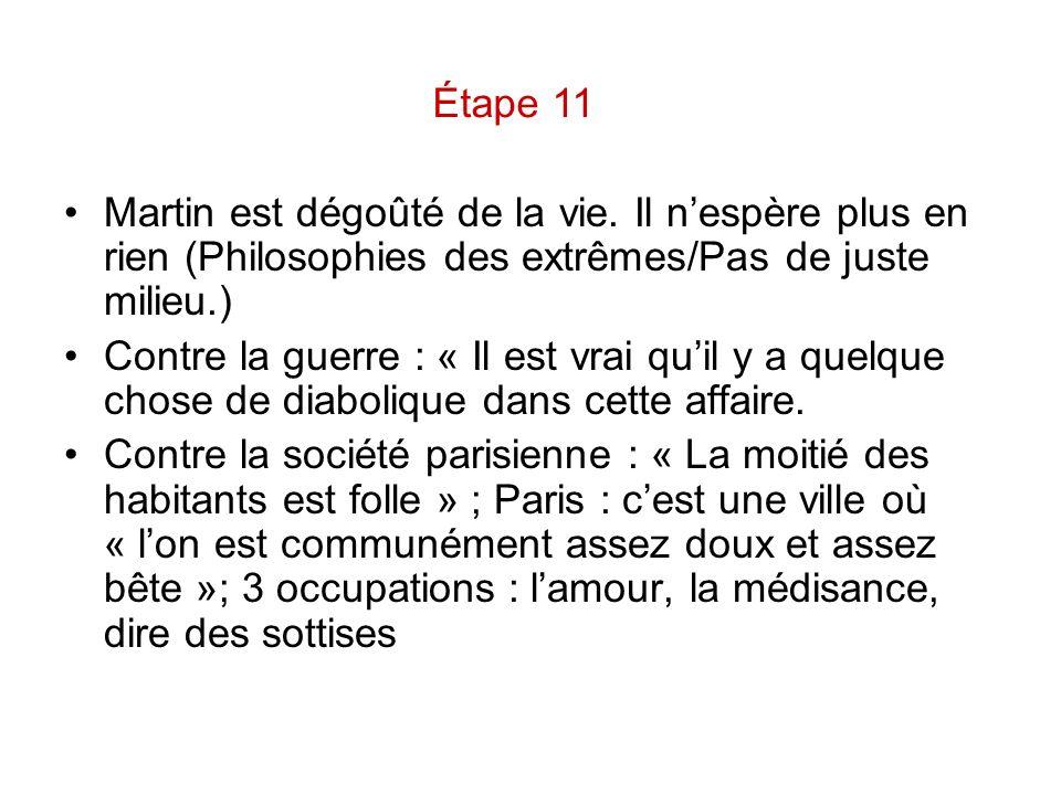 Étape 11 Martin est dégoûté de la vie. Il n'espère plus en rien (Philosophies des extrêmes/Pas de juste milieu.)