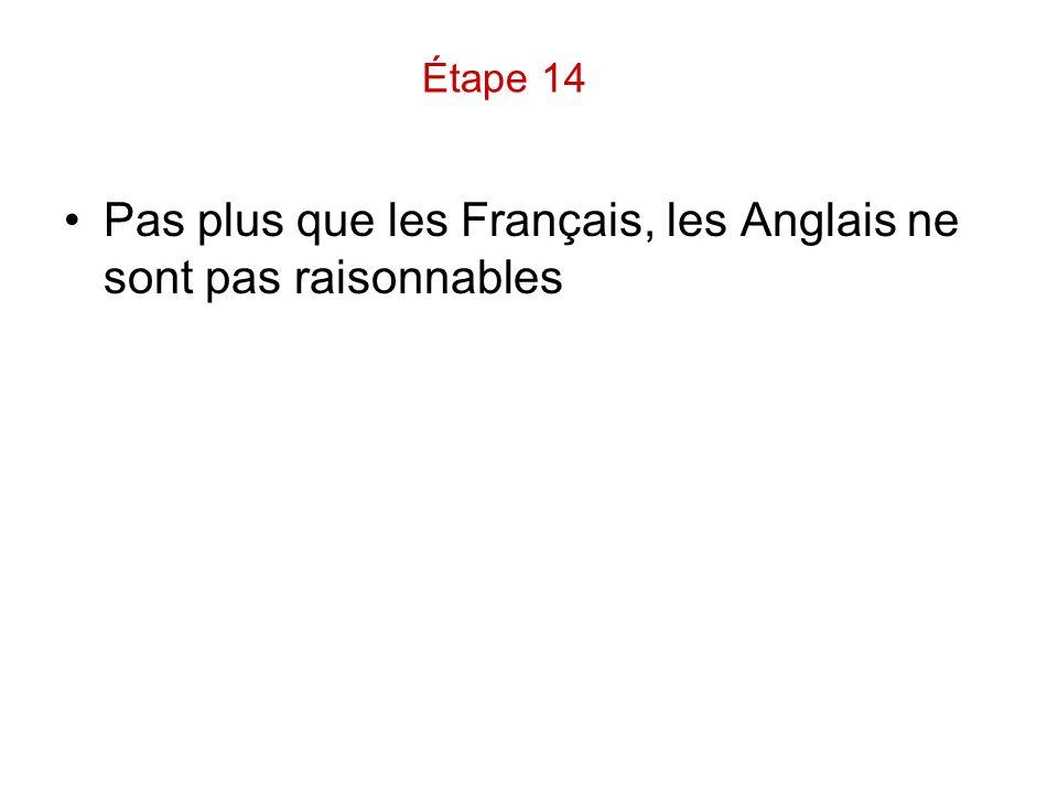 Pas plus que les Français, les Anglais ne sont pas raisonnables
