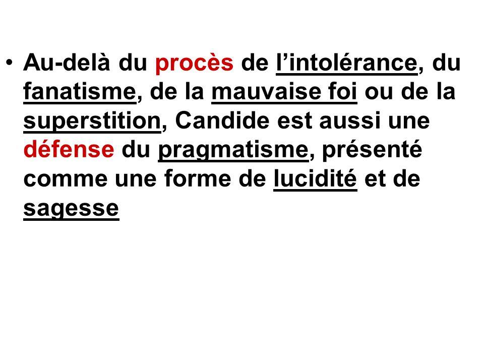 Au-delà du procès de l'intolérance, du fanatisme, de la mauvaise foi ou de la superstition, Candide est aussi une défense du pragmatisme, présenté comme une forme de lucidité et de sagesse