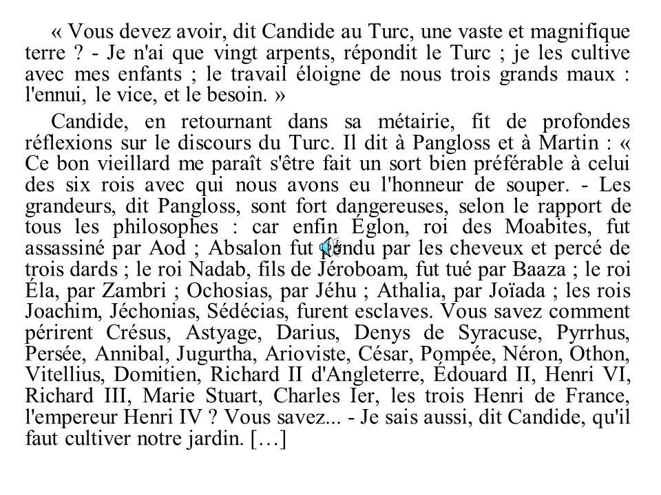 « Vous devez avoir, dit Candide au Turc, une vaste et magnifique terre