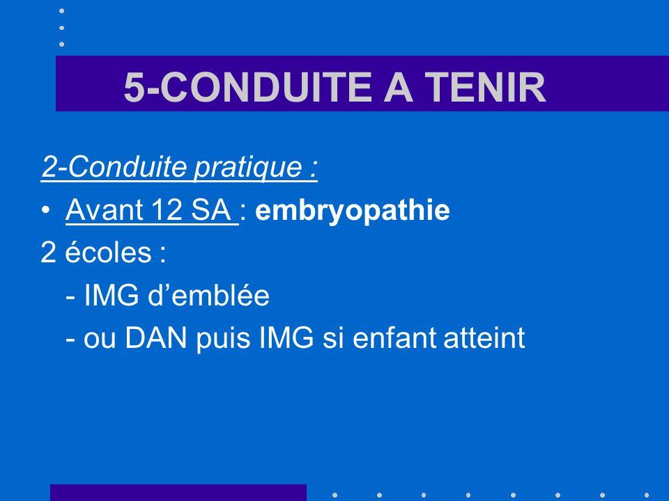 5-CONDUITE A TENIR 2-Conduite pratique : Avant 12 SA : embryopathie