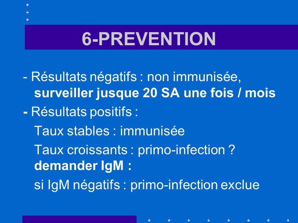 6-PREVENTION - Résultats négatifs : non immunisée, surveiller jusque 20 SA une fois / mois. - Résultats positifs :