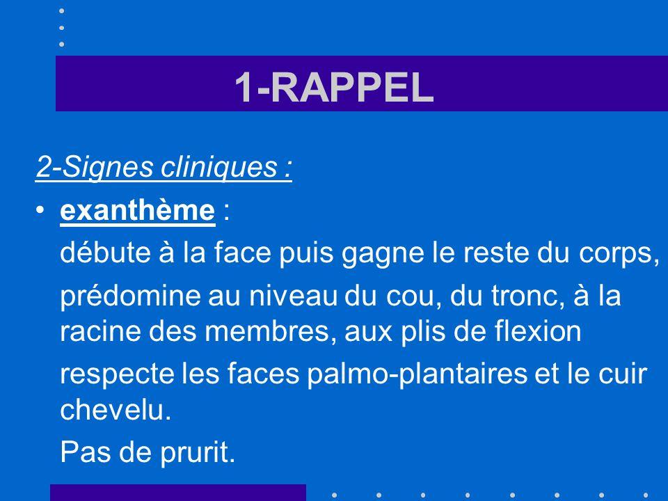 1-RAPPEL 2-Signes cliniques : exanthème :
