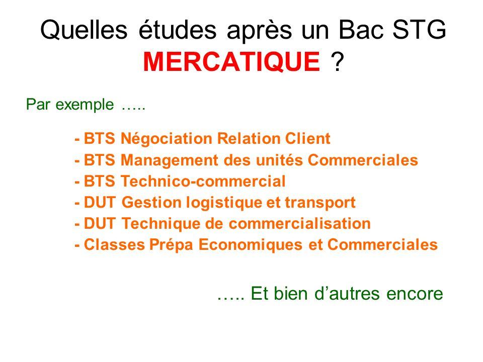 Quelles études après un Bac STG MERCATIQUE