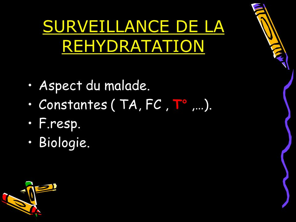 SURVEILLANCE DE LA REHYDRATATION