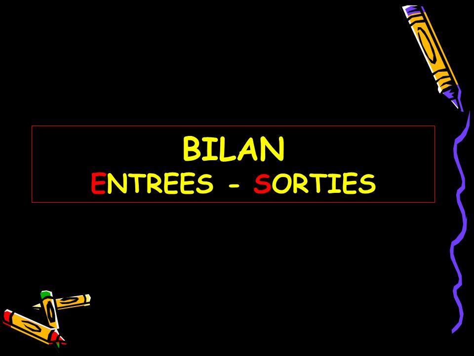 BILAN ENTREES - SORTIES