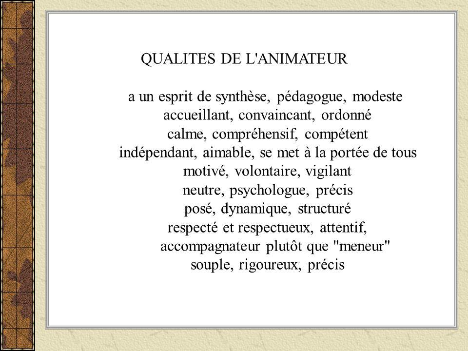 QUALITES DE L ANIMATEUR a un esprit de synthèse, pédagogue, modeste