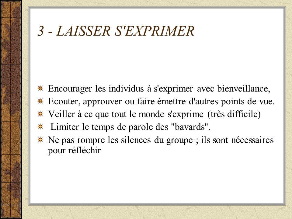 3 - LAISSER S EXPRIMER Encourager les individus à s exprimer avec bienveillance, Ecouter, approuver ou faire émettre d autres points de vue.