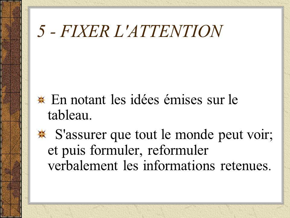 5 - FIXER L ATTENTION En notant les idées émises sur le tableau.