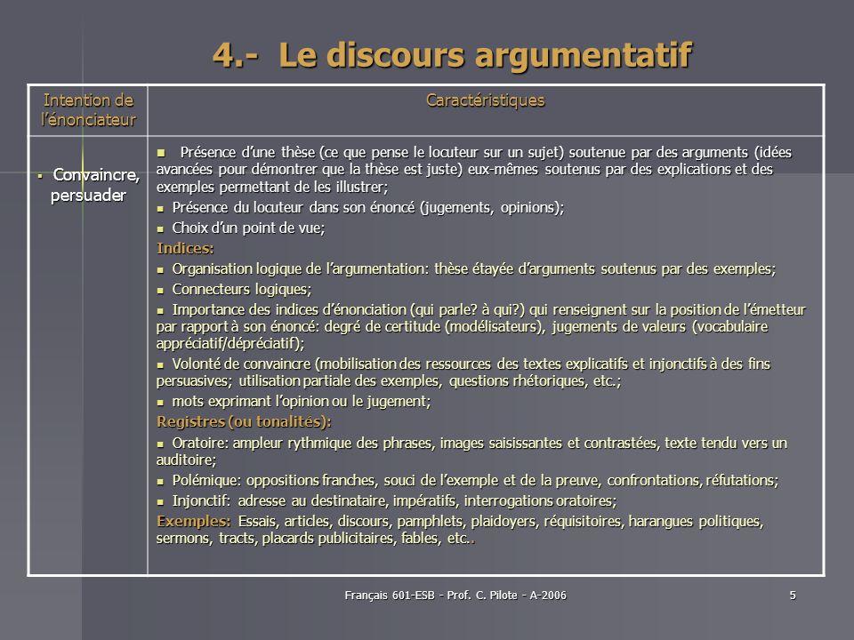 4.- Le discours argumentatif