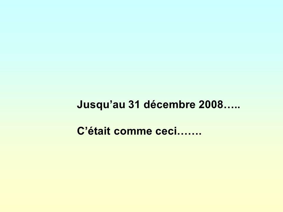 Jusqu'au 31 décembre 2008….. C'était comme ceci…….