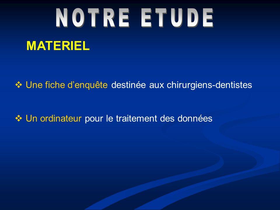 NOTRE ETUDE MATERIEL. Une fiche d'enquête destinée aux chirurgiens-dentistes.
