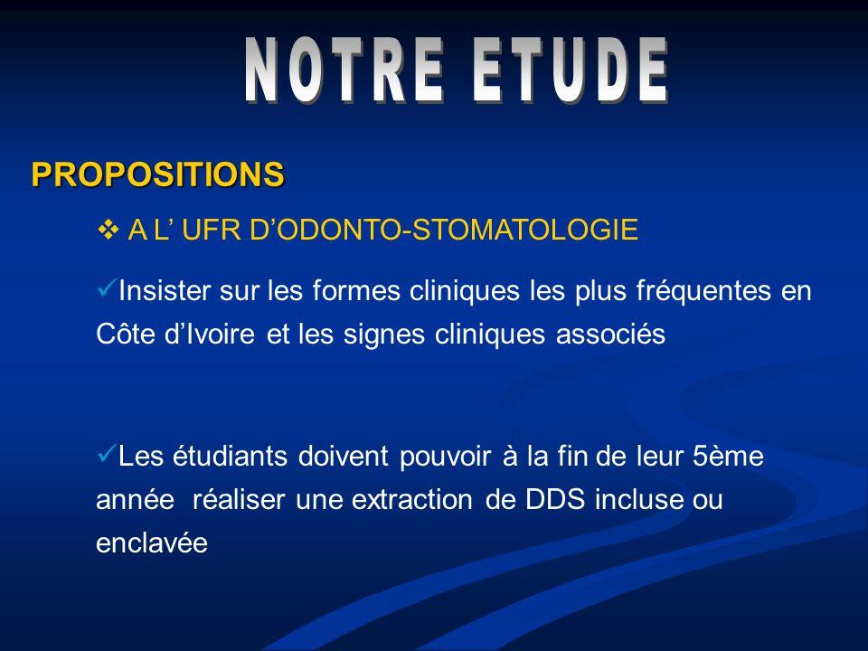 NOTRE ETUDE PROPOSITIONS A L' UFR D'ODONTO-STOMATOLOGIE