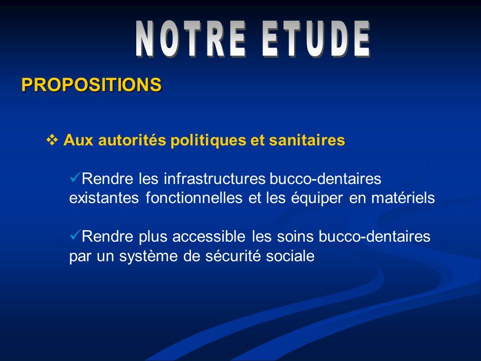 NOTRE ETUDE PROPOSITIONS Aux autorités politiques et sanitaires
