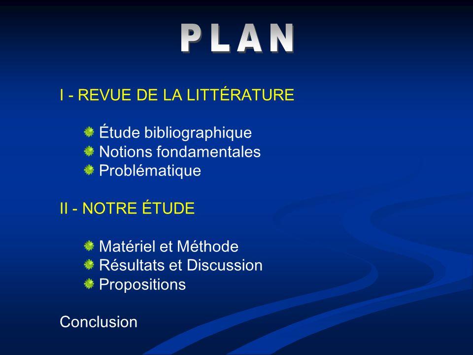 PLAN I - REVUE DE LA LITTÉRATURE Étude bibliographique