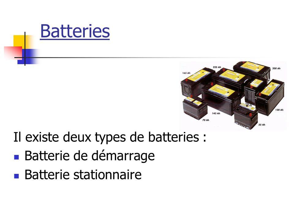 Batteries Il existe deux types de batteries : Batterie de démarrage