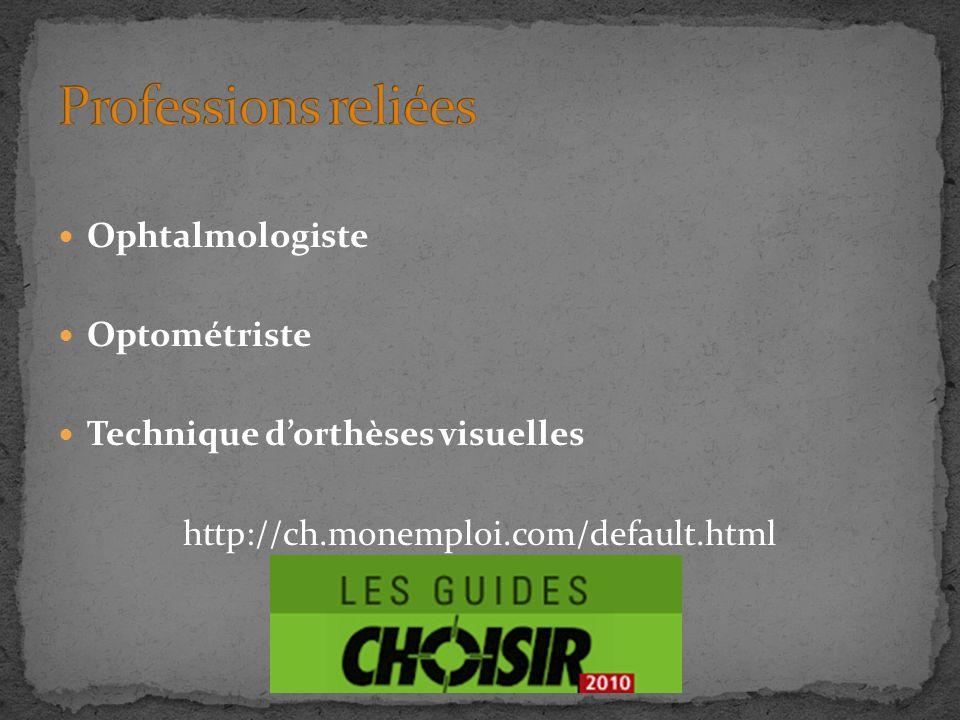 Professions reliées Ophtalmologiste Optométriste