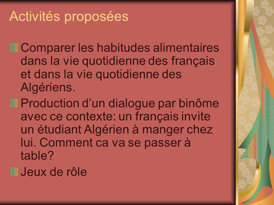 Activités proposéesComparer les habitudes alimentaires dans la vie quotidienne des français et dans la vie quotidienne des Algériens.