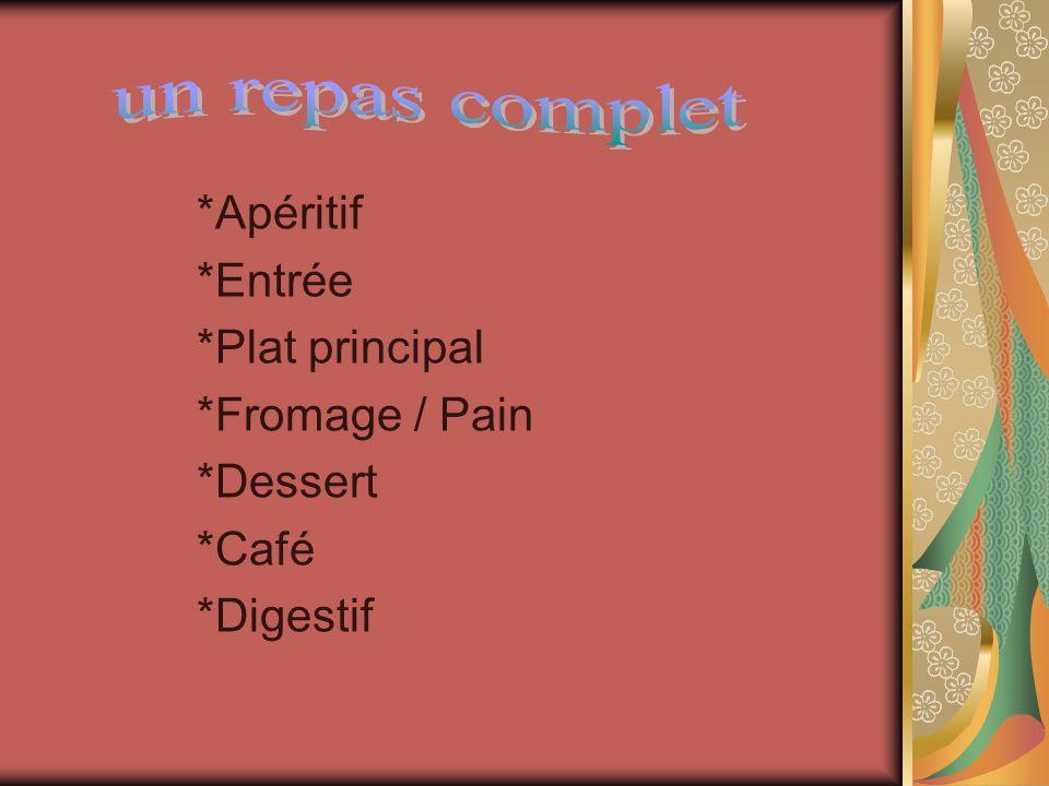 un repas complet *Apéritif *Entrée *Plat principal *Fromage / Pain