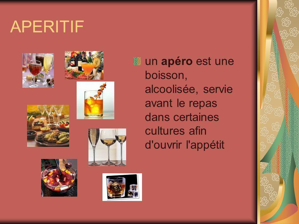 APERITIFun apéro est une boisson, alcoolisée, servie avant le repas dans certaines cultures afin d ouvrir l appétit.
