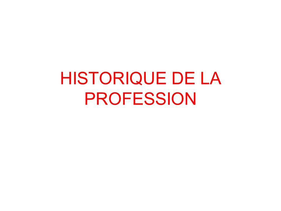 HISTORIQUE DE LA PROFESSION