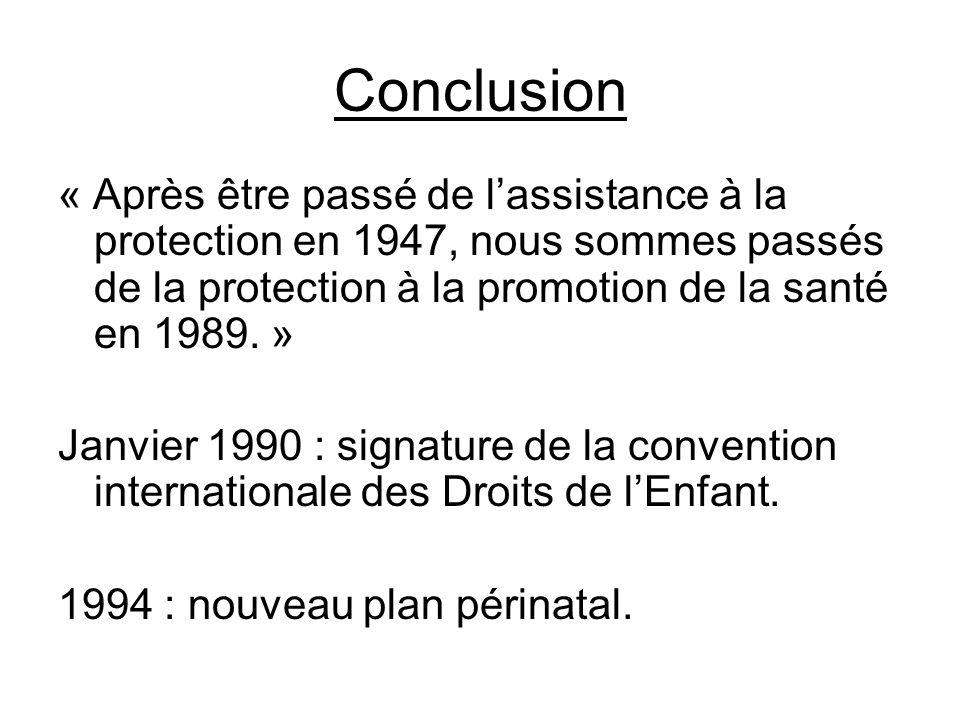 Conclusion « Après être passé de l'assistance à la protection en 1947, nous sommes passés de la protection à la promotion de la santé en 1989. »