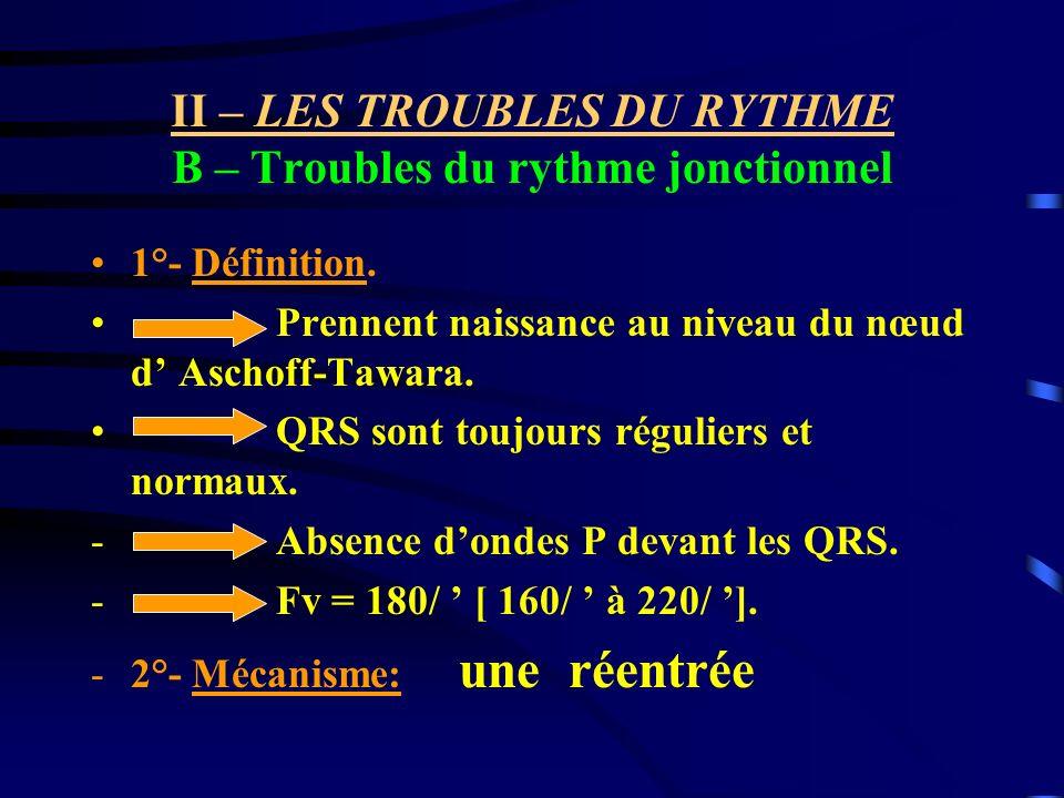 II – LES TROUBLES DU RYTHME B – Troubles du rythme jonctionnel