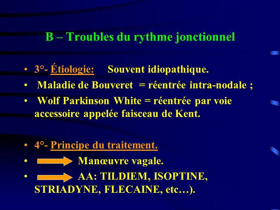 B – Troubles du rythme jonctionnel