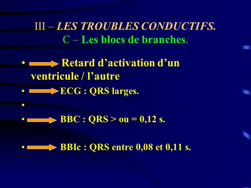 III – LES TROUBLES CONDUCTIFS. C – Les blocs de branches.
