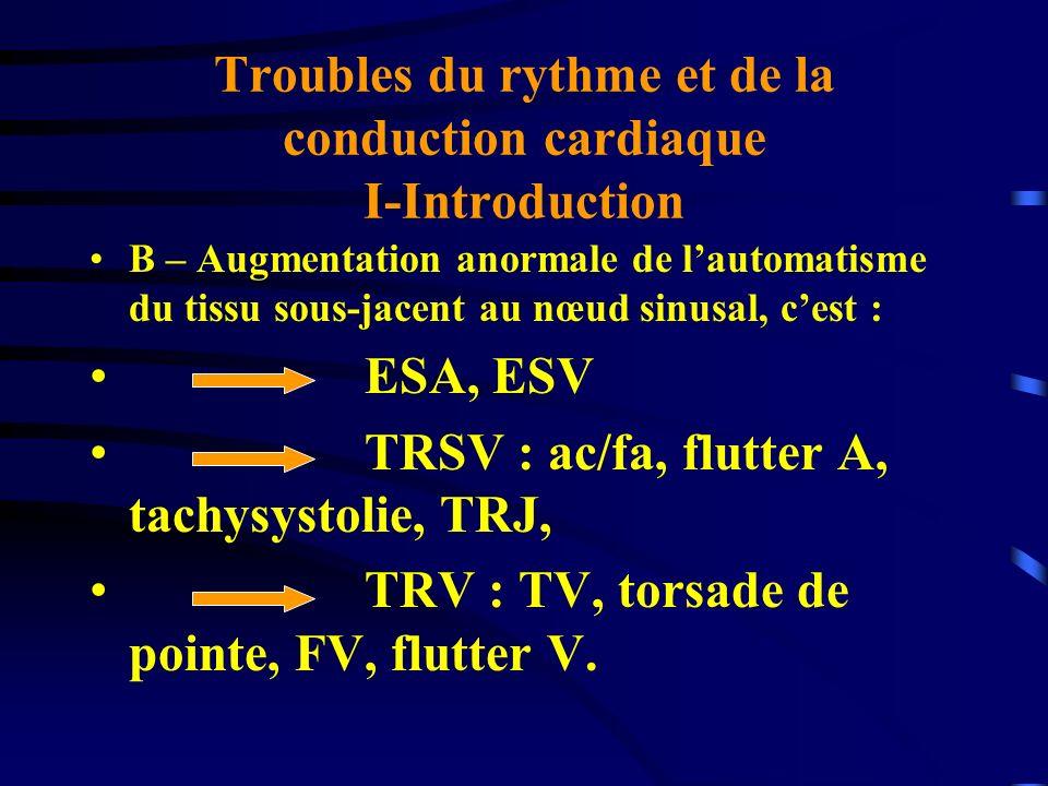 Troubles du rythme et de la conduction cardiaque I-Introduction