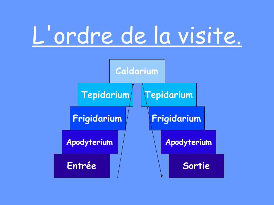 L ordre de la visite. Caldarium Tepidarium Tepidarium Frigidarium